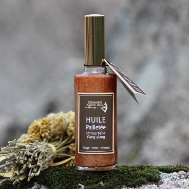 Huile pailletée Immortelle corse Ylang-ylang soin corps visage cheveux